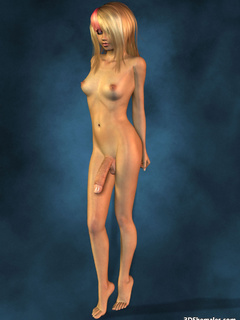 Completely nude blond 3D shemale with big cock - Cartoon Porn Pictures - Picture 6