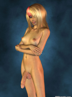 Completely nude blond 3D shemale with big cock - Cartoon Porn Pictures - Picture 9