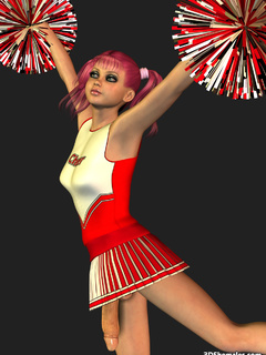 Sexy 3D cheerleader shemale dancing in dress - Cartoon Porn Pictures - Picture 1