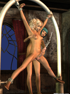 Tied-up blond shemale satisfied by another one - Cartoon Porn Pictures - Picture 8