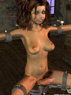Big cocked brunette 3D shemale in a sexmachine - Cartoon Porn Pictures - Picture 2