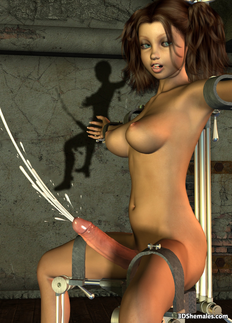 Bound brunette 3d shemale