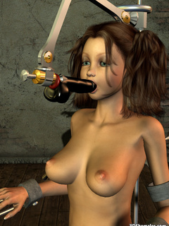 Big cocked brunette 3D shemale in a sexmachine - Cartoon Porn Pictures - Picture 8