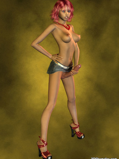 Topless redhead 3D shemale in miniskirt and - Cartoon Porn Pictures - Picture 2