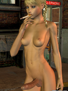 Seductive stark-naked 3D shemale smoking - Cartoon Porn Pictures - Picture 1