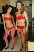 Playful lesbian sluts in matching red bra and…