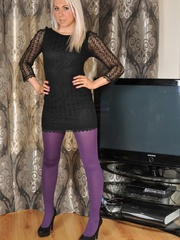 Sexy blondie in purple pantyhose - Sexy Women in Lingerie - Picture 2