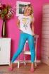 Blonde teenage gal in blue leggings gets topless
