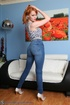 Dirty ginger teen takes off her jeans to show off…