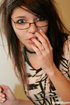 Cute nice sweet teen girl in glasses with soft…