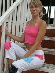 Alluring tanned blond in her pink topless boobie - XXXonXXX - Pic 1