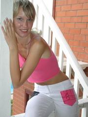 Alluring tanned blond in her pink topless boobie - XXXonXXX - Pic 4