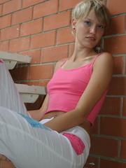 Alluring tanned blond in her pink topless boobie - XXXonXXX - Pic 5