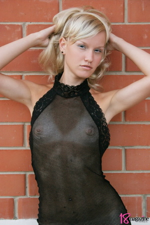 A charming blond in her seethru blacked laced dress - XXXonXXX - Pic 1