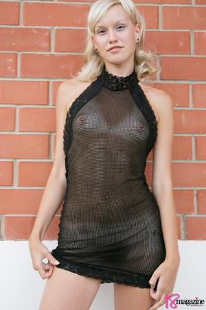 A charming blond in her seethru blacked laced dress - XXXonXXX - Pic 2