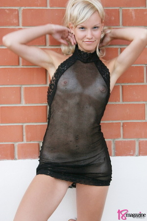 A charming blond in her seethru blacked laced dress - XXXonXXX - Pic 4