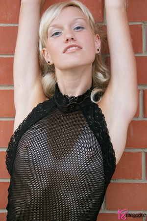 A charming blond in her seethru blacked laced dress - XXXonXXX - Pic 5