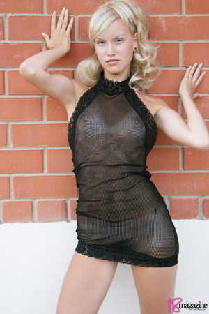 A charming blond in her seethru blacked laced dress - XXXonXXX - Pic 7