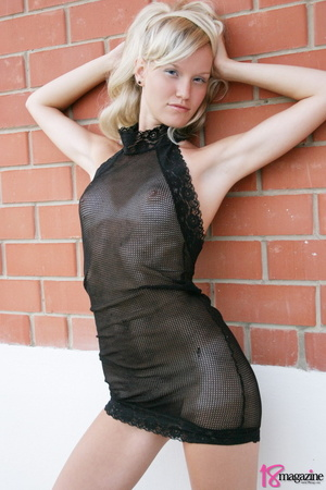 A charming blond in her seethru blacked laced dress - XXXonXXX - Pic 8