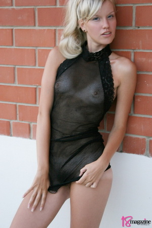 A charming blond in her seethru blacked laced dress - XXXonXXX - Pic 10