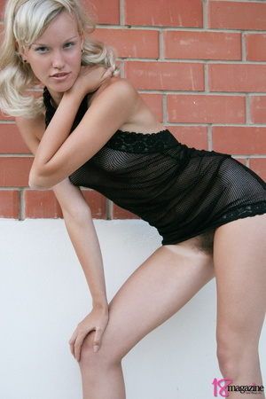 A charming blond in her seethru blacked laced dress - XXXonXXX - Pic 13