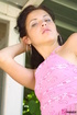 Innocent seductress in denim miniskirt starts…