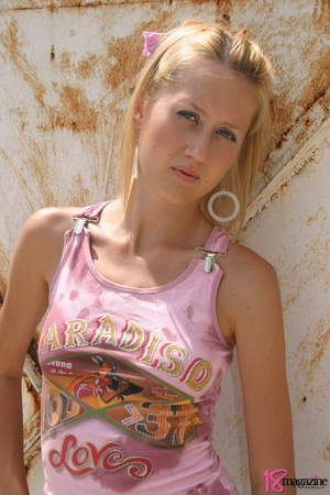 An alluring blond slut was so hot to uncover herself in those pink shirt and white mini - XXXonXXX - Pic 3