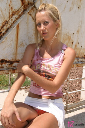 An alluring blond slut was so hot to uncover herself in those pink shirt and white mini - XXXonXXX - Pic 6
