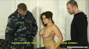 Slutty big boobed wife gets to be fondled on her tits and the men took her away to the torture contraption - XXXonXXX - Pic 5