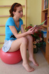Cute redhead teen Alka is trying to work on her dancing, but she's too