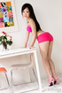 Pink is hot as lusty Asian looks real hot in pink and then goes nude