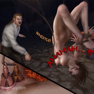 Blonde slave girl stretched on ropes - BDSM Art Collection - Pic 2