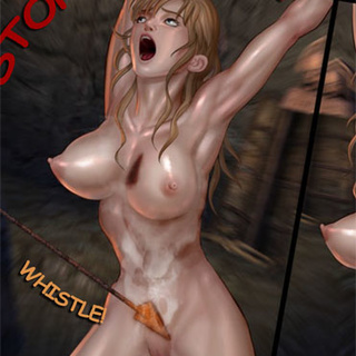Blonde slave girl stretched on ropes - BDSM Art Collection - Pic 4