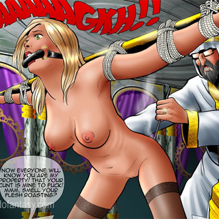 White enslaved girl worship their Arab - BDSM Art Collection - Pic 2