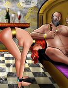 Pervert Arab sheikh forcing his blonde hetaera licking his asshole