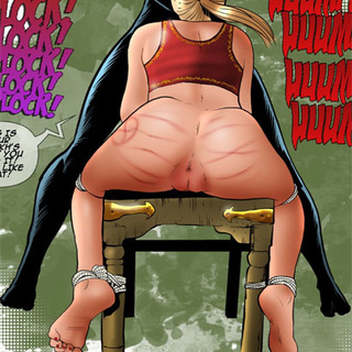 Blonde girl roped to the chair gagging - BDSM Art Collection - Pic 2