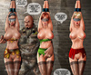 Cruel military men jeering bound babes with blindfolds