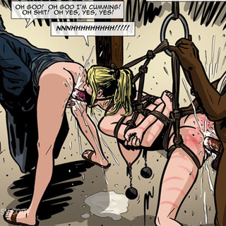 Bound and suspended slave girl with - BDSM Art Collection - Pic 3