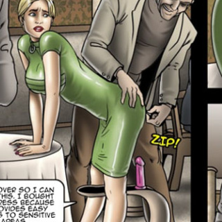 Blonde whore in a green dress - BDSM Art Collection - Pic 2
