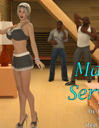 Three black guys enjoy hot blonde maid prostitute