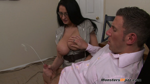 Bella gets a massive load spurted all over her HUGE tits! - XXXonXXX - Pic 13