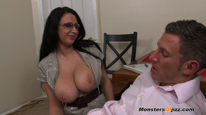 Bella gets a massive load spurted all over her HUGE tits! - XXXonXXX - Pic 16