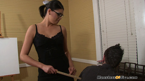 Miss Niedermejer is a strict school MISTRESS and she won't put up with any more faliures! She decides to show young Ricky what will happen if he doesn't stay in school... he'll end up CLEANING PEOPLE'S FEET! - XXXonXXX - Pic 1