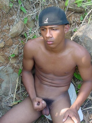 Bronzed, beautiful and horny young latino playing with his awfully large manmeat and blasting cum on himself - XXXonXXX - Pic 14