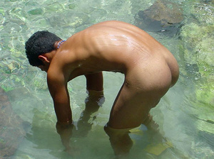 A robust young bronze latino sunbathing among the rocks and wanking that impossibly large dick of his until he cums - XXXonXXX - Pic 14