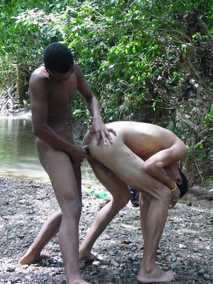 Two horny latino twinks frolick in the bank of a brook while sucking at and licking  each other's large manpoles and then fuck ass - XXXonXXX - Pic 6