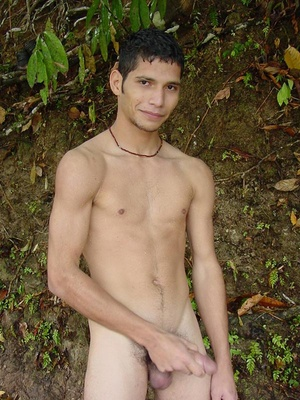 A horny latino twink takes a swim in the shallow waters of the brook and there wanks off in the cool waters until he pops his nut - XXXonXXX - Pic 4