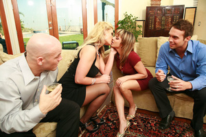 Two hot swinger wives get into lesbian a - XXX Dessert - Picture 1