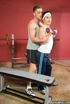 Rough gym workout turns fun when trainer whips out…