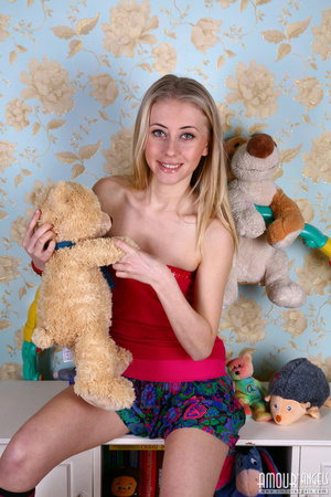 Teen blondie takes off her clothes to pose nude in long socks and with hula-hoop - XXXonXXX - Pic 1